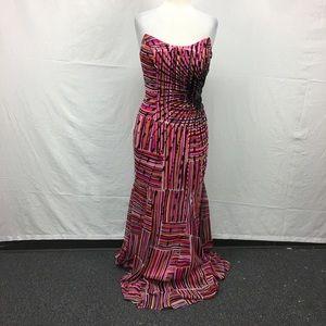Tony Bowls Multi Color Side Sequin Strapless Dress